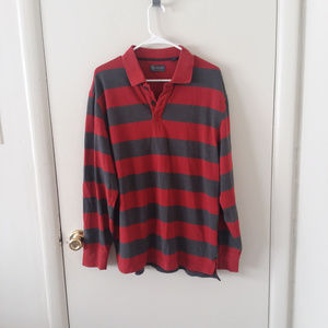 Men's Arrow Red Gray Striped Button Down Shirt